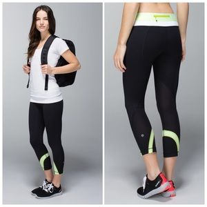 Lululemon Run Inspire Crop II Black Lime Legging 4